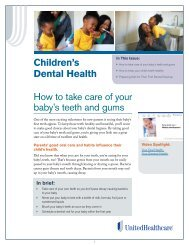 Children's Dental Health How to take care of your ... - UHC Tools