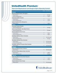 Joint Replacement and Spine Surgery Specialty List - UHC Tools