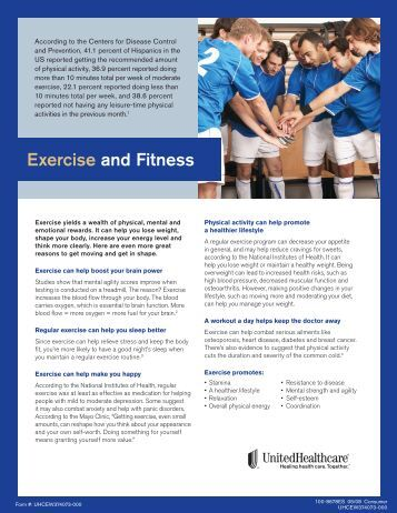Exercise and Fitness Brochure - UHC Tools