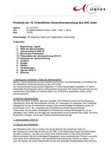 Protokoll der ordentlichen GV vom 03. Juli 2010 (PDF) - UHC Uster