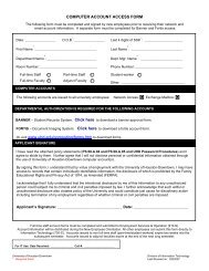 computer account access form - the University of Houston-Downtown!