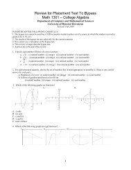 Review for Placement Test To Bypass Math 1301 – College Algebra