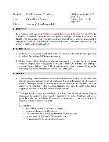 Employee Wellness Program Policy - the University of Houston ...