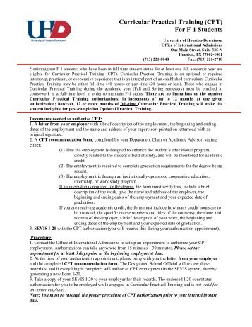 CPT recommendation form - the University of Houston-Downtown!