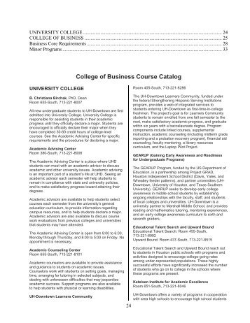 College of Business Course Catalog - the University of Houston ...