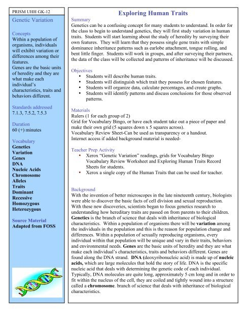 Exploring Human Traits - University of Hawaii at Hilo