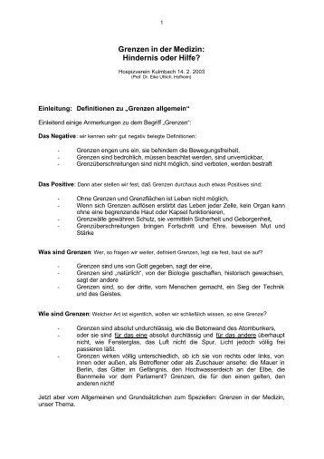 Grenzen in der Medizin 2 - Uhlich-Online.de