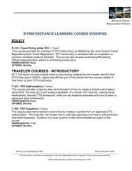 Distance Learning Course Synopsis – Defense Travel - DTMO