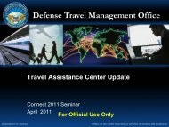 Connect 2011 Seminar - Travel Assistance Center Update - DTMO