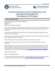 Previous Customer Service Notifications and ... - DTMO