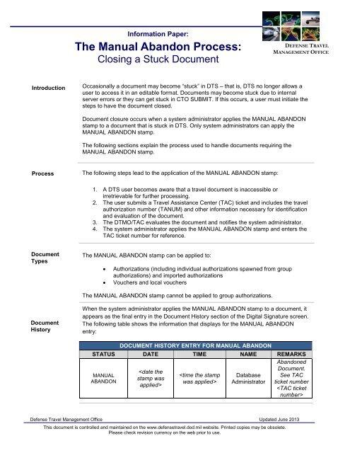 The Manual Abandon Process: - DTMO
