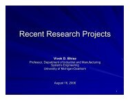 Recent Research Projects - University of Michigan - Dearborn ...