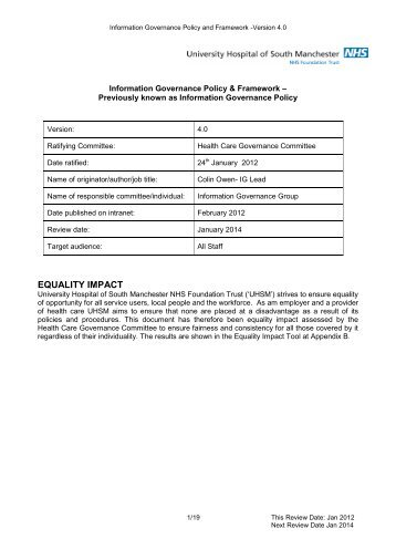 uhsm policy template v31