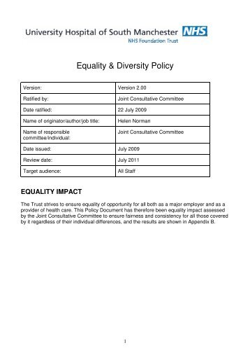 Uhsm policy template v3 1 for Diversity policy template