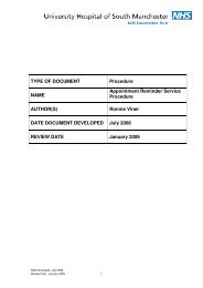 Appointment Reminder Service Procedure V1.00 - UHSM