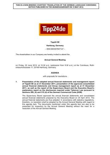 Tipp24 SE Hamburg, Germany – ISIN DE0007847147 – The ...