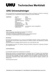 Technisches Merkblatt - bei UHU Industrie und Handwerk