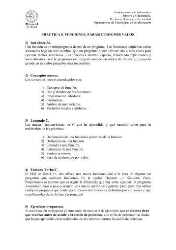 PRACTICA 8. FUNCIONES. PARÁMETROS POR VALOR 1 ...