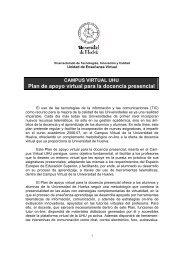 Plan de apoyo virtual para la docencia presencial - Universidad de ...
