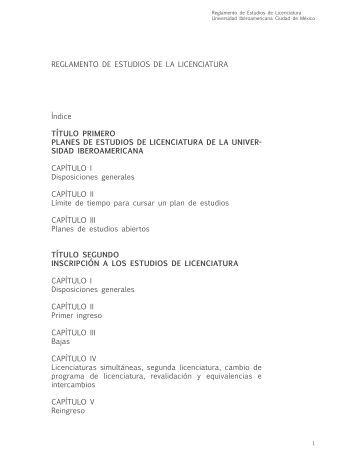 Reglamento de Estudios de Licenciatura - Universidad ...