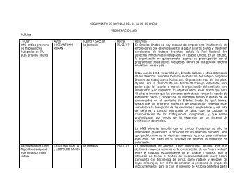 SEGUIMIENTO DE NOTICIAS DEL 15 AL 19 DE ENERO MEDIOS ...