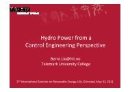 Hydro Power from a Control Engineering Perspective
