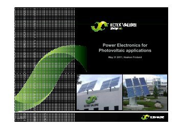 Power Electronics for Photovoltaic applications