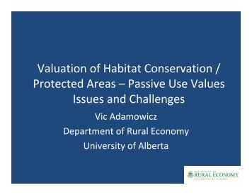 Valuation of Habitat Conservation / Protected Areas ... - UIB Congres