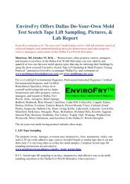 EnviroFry Offers Dallas Do-Your-Own Mold Test Scotch Tape Lift Sampling, Pictures, & Lab Report