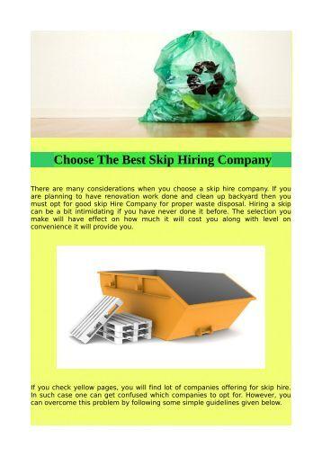 Choose The Best Skip Hiring Company