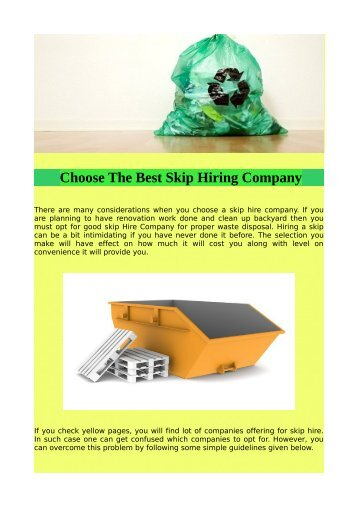 Choose The Best Skip Hiring Company