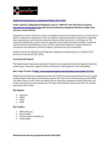 Worldwide General Laboratory Equipment Market 2018