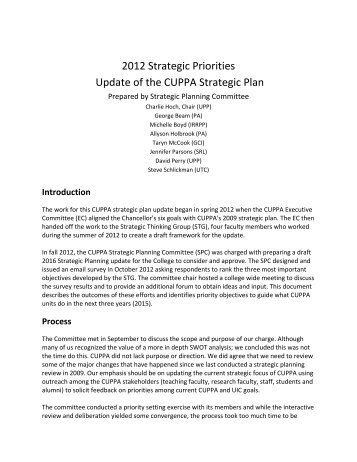 CUPPA Strategic Plan - University of Illinois at Chicago