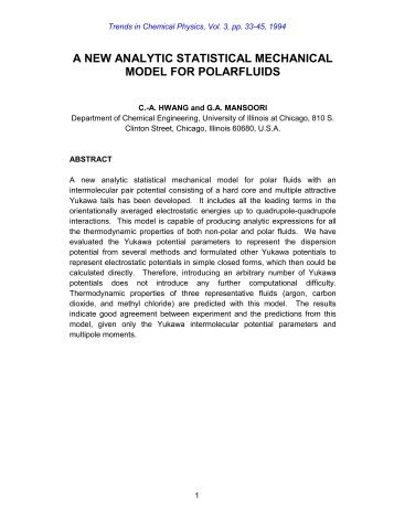 a new analytic statistical mechanical model for polarfluids