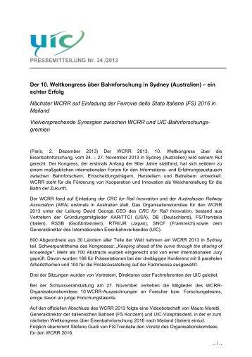 Der 10. Weltkongress über Bahnforschung in Sydney ... - UIC