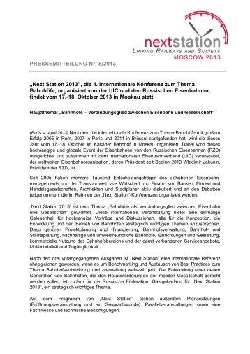 """PRESSEMITTEILUNG Nr. 8/2013 """"Next Station 2013"""", die 4 ... - UIC"""