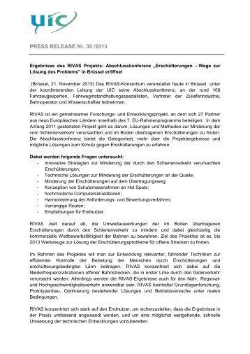 Ergebnisse des RIVAS Projekts: Abschlusskonferenz - UIC