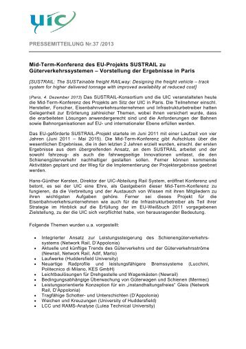 Mid-Term-Konferenz des EU-Projekts SUSTRAIL zu - UIC