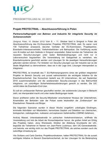 Projekt PROTECTRAIL–Abschlussvorführung in Polen - UIC