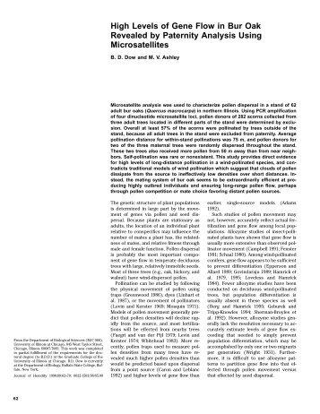 High Levels of Gene Flow in Bur Oak Revealed by Paternity ...