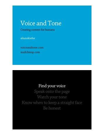 Voice & Tone