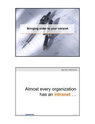 Almost every organization has an intranet …