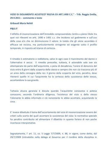 VIZIO DI ISOLAMENTO ACUSTICO? RILEVA EX ART.1490 C.C. ...
