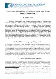 L'invalidità del provvedimento amministrativo dopo la legge 15/2005 ...