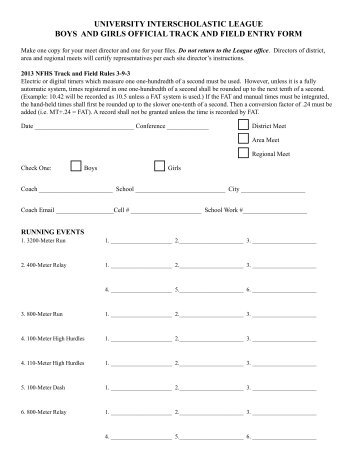 track and field meet entry forms