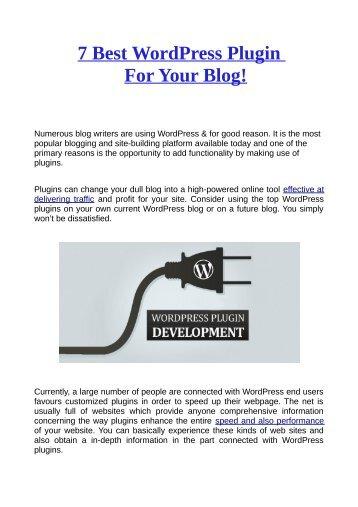 7 Best WordPress Plugin For Your Blog
