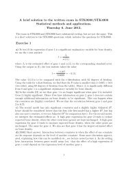 A brief solution to the written exam in STK9900/STK4900 Statistical ...