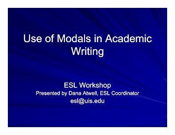Use of Modals in Academic Use of Modals in Academic Writing