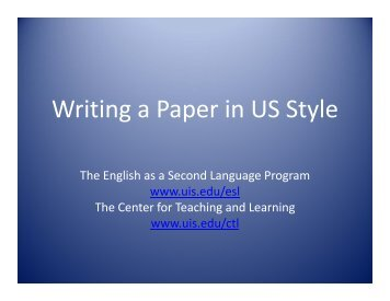 Writing a Paper in US Style