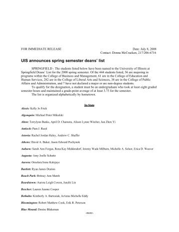 UIS announces spring semester deans' list - University of Illinois ...